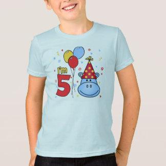 T-shirt 5ème anniversaire de visage bleu d'hippopotame