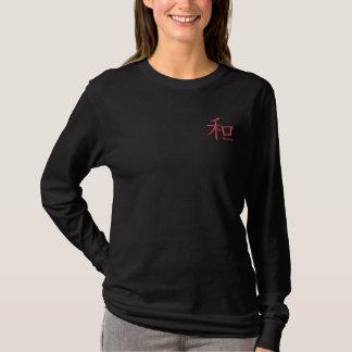 T-shirt À Manches Lomgues Brodée chemise brodée par kanji de paix