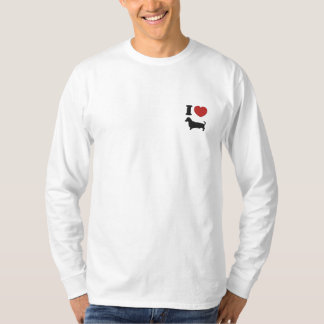 T-shirt À Manches Lomgues Brodée J'entends des teckels