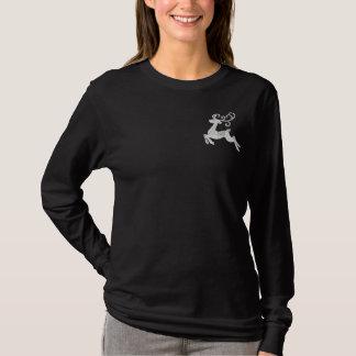 T-shirt À Manches Lomgues Brodée Renne argenté