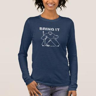 T-shirt À Manches Longues Amenez-lui les femmes de gardien de but d'hockey
