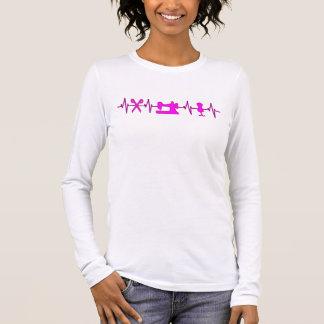 T-shirt À Manches Longues Battements de coeur d'ECG pour la couture