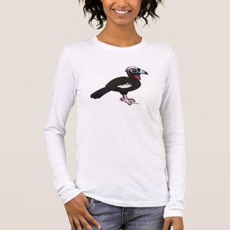 T-shirt À Manches Longues Birdorable Noir-a affronté Guan sifflant