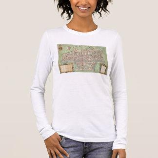 """T-shirt À Manches Longues Carte d'Augsbourg, de """"Civitates Orbis Terrarum"""" b"""