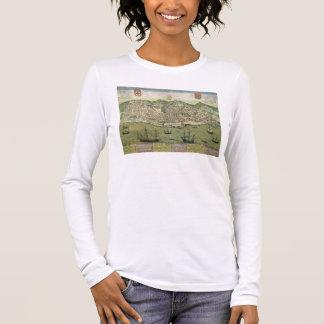 """T-shirt À Manches Longues Carte de Lisbonne, de """"Civitates Orbis Terrarum"""""""