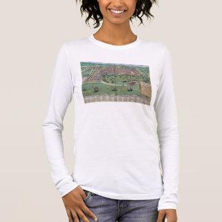"""T-shirt À Manches Longues Carte de Messine, de """"Civitates Orbis Terrarum"""""""