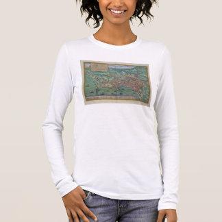 """T-shirt À Manches Longues Carte de Naples, de """"Civitates Orbis Terrarum"""" par"""