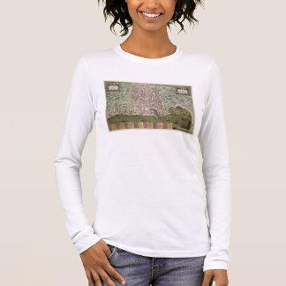 """T-shirt À Manches Longues Carte de Palerme, de """"Civitates Orbis Terrarum"""""""
