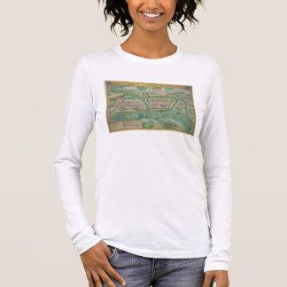 """T-shirt À Manches Longues Carte de Szolnok, de """"Civitates Orbis Terrarum"""""""