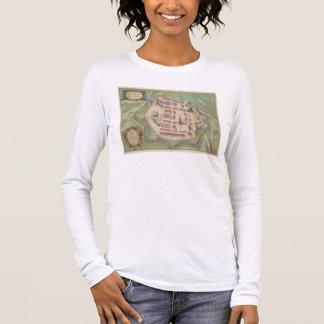 """T-shirt À Manches Longues Carte de Zamosc, de """"Civitates Orbis Terrarum"""" par"""