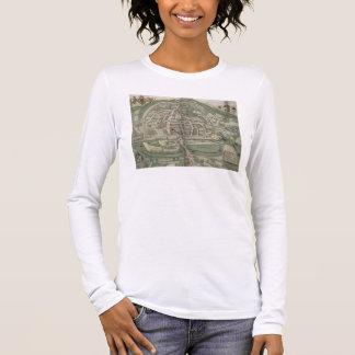 """T-shirt À Manches Longues Carte d'Exeter, de """"Civitates Orbis Terrarum"""" par"""