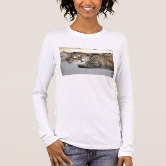 T-shirt À Manches Longues Chat tigré de sommeil