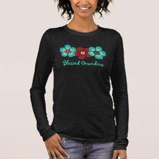T-shirt À Manches Longues Chemise bénie de grand-maman - rouge turquoise