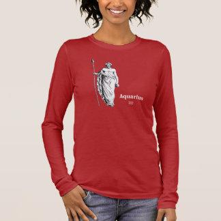 T-shirt À Manches Longues Chemise foncée de Verseau avec le texte et le