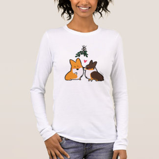 T-shirt À Manches Longues Corgi de gui embrassant la chemise