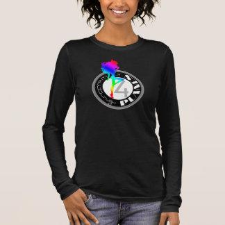 T-shirt À Manches Longues Douille de attente T de logo d'arc-en-ciel de ® de