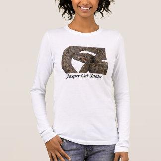 T-shirt À Manches Longues Douille de dames de serpent de chat de jaspe