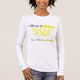 T-shirt À Manches Longues Frère jumeau - je porte une petite gorgée jaune de
