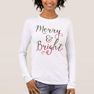 T-shirt À Manches Longues Joyeuse et lumineuse calligraphie de Noël