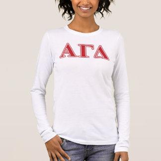 T-shirt À Manches Longues Lettres blanches et vertes d'alpha delta gamma