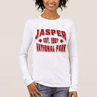 T-shirt À Manches Longues Rouge du Canada de style ancien de jaspe