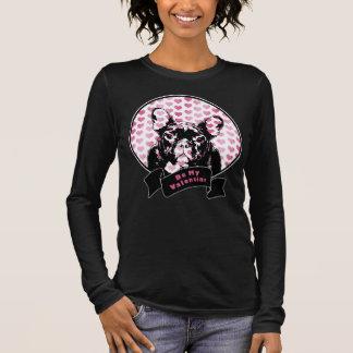 T-shirt À Manches Longues Valentines - silhouette de bouledogue français