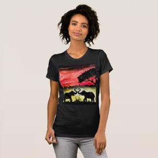 T-shirt Amour dans la jungle - peinture acrylique