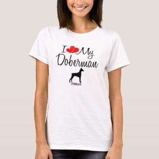 T-shirt Amour de la coutume I mon dobermann