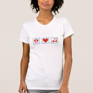 T-shirt Amour de paix et femmes de carrés de musiciens