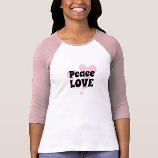 T-shirt Amour de paix sur flotter les coeurs roses