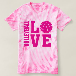 T-shirt Amour rose de volleyball, volleyball
