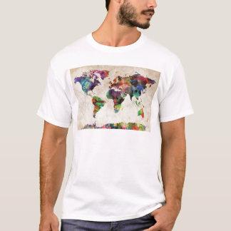 T-shirt Aquarelle urbaine de carte du monde