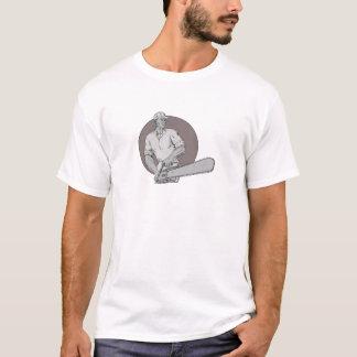 T-shirt Arboriste de bûcheron tenant le dessin ovale de