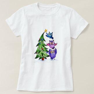 T-shirt Arbre de vacances de hiboux de Noël