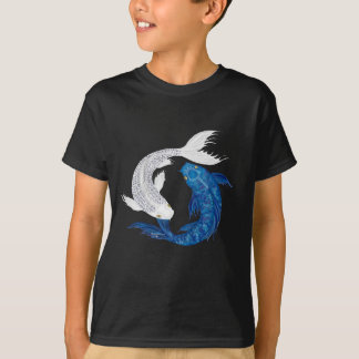 T-shirt Argent bleu majestueux de fantôme de Koi