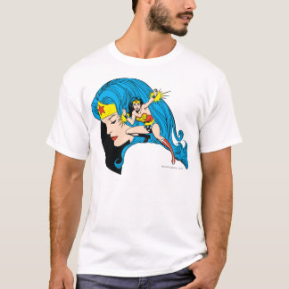 T-shirt Arrière - plan de profil de femme de merveille