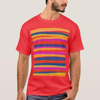 T-shirt Art abstrait acrylique de peinture rayée colorée