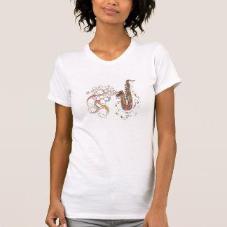 T-shirt Art de griffonnage de saxophone de jazz