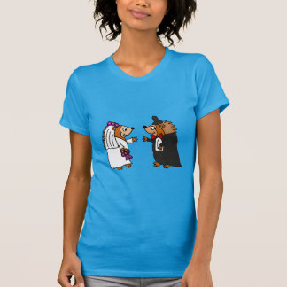 T-shirt Art drôle de mariage de hérisson de jeunes mariés