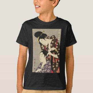 T-shirt Art d'Utamaro Yuyudo Ukiyo-e de la coiffure des