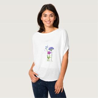 T-shirt art floral d'aquarelle peinte à la main