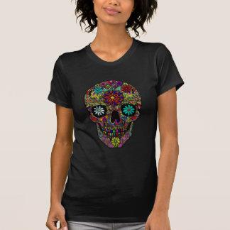 T-shirt Art floral peint de crâne