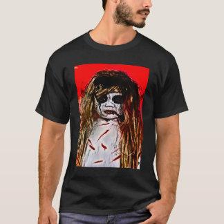 T-shirt Art mauvais hanté d'aerographe de fille de fantôme