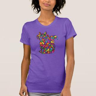 T-shirt Art populaire de chat de mosaïque en verre souillé
