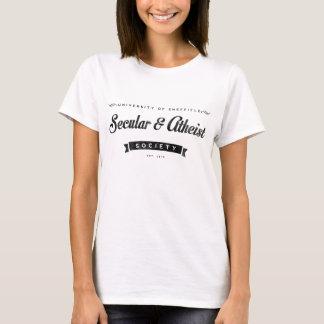 T-shirt athée de blanc de dames de société