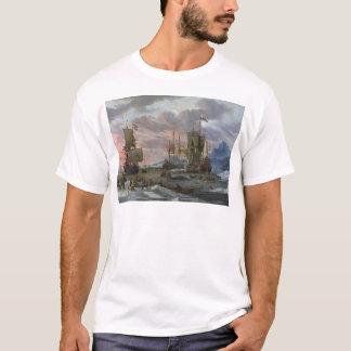 T-shirt Baleiniers néerlandais outre d'une côte rocheuse
