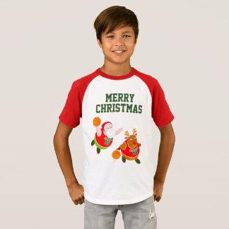 T-shirt Bande dessinée d'amusement de Père Noël et Rudolph