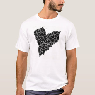 T-shirt Basic thé, Shattered, Heart, Abstract