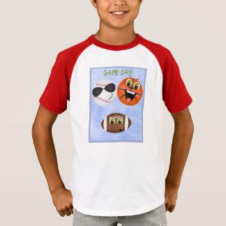 T-shirt Basket-ball de base-ball du football de jour de