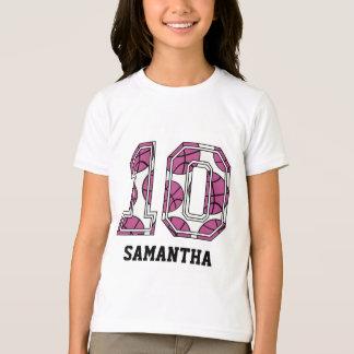 T-shirt Basket-ball personnalisé numéro 10 rose et blanc